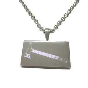 Silver Toned Etched Axe Pendant Unisex Necklace